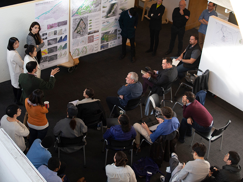 Master of Architecture's Urban Design Studio present their projects to faculty and guest jurors for their Final Review in the Architecture West second floor atrium.