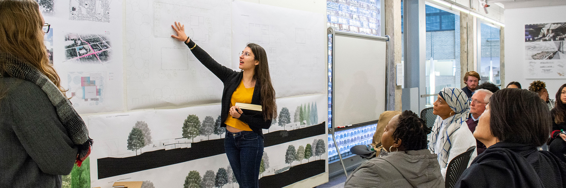 Students present their renderings during Junior and Senior Studio Presentations in the Hinman Research Building