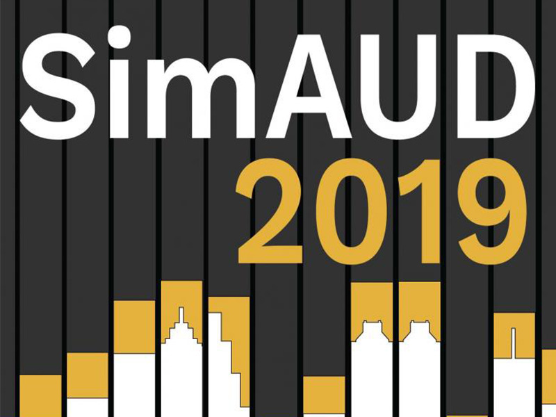 SimAUD 2019 promotion including the words SimAUD 2019 and a skyline represented on a bar graph.