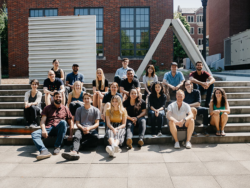 The Core Studio class photo from the Fall 2019 semester in the Hinman Courtyard.