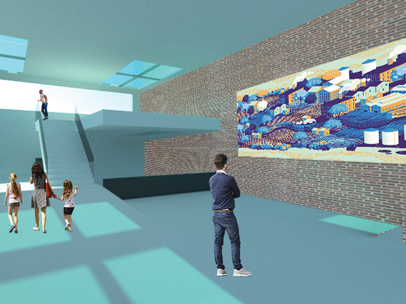 Exhibition space rendering by Jack Coleman
