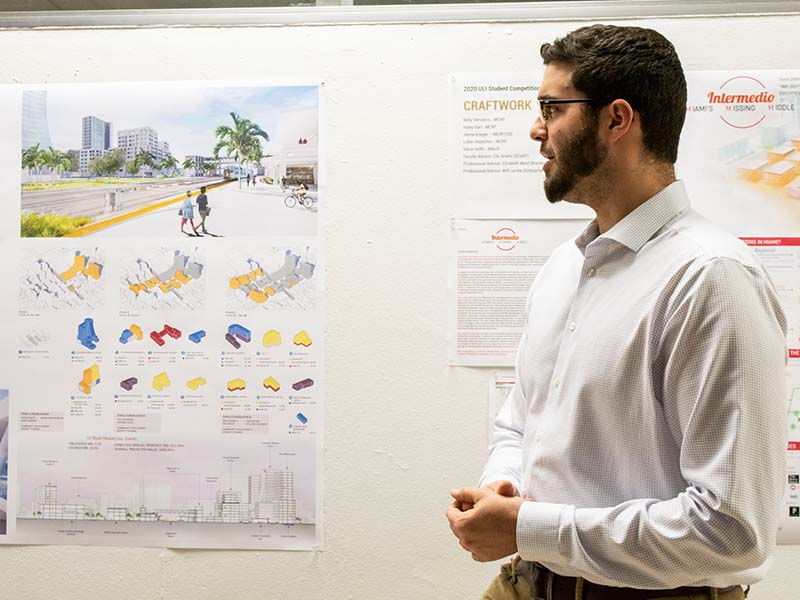 Master of Science in Urban Design student presents ULI-Hines Competition project in the Cohen Gallery.