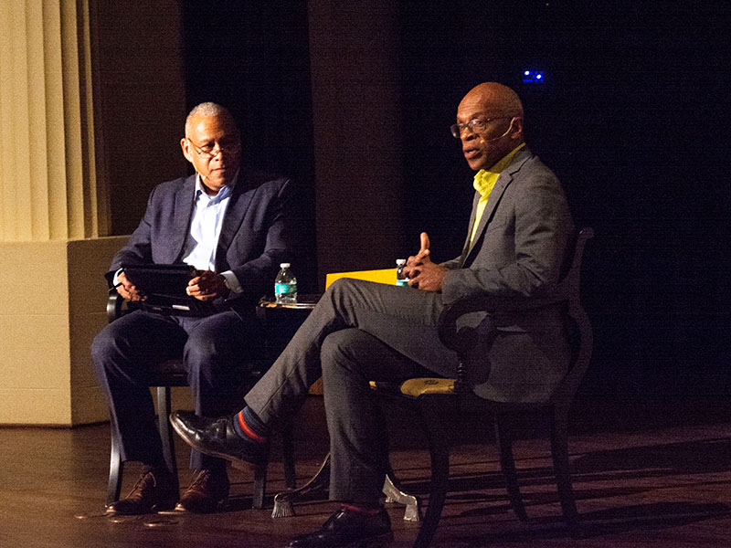 Maurice Cox and Mitchell Silver discuss parks and outdated infrastructure on stage at the Historic Academy of Medicine