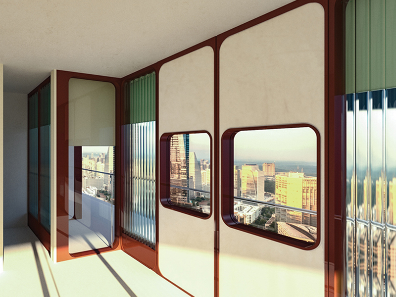 Glass life interior rendering looking through windows by Anna McCuan for John Peponis' Senior Studio