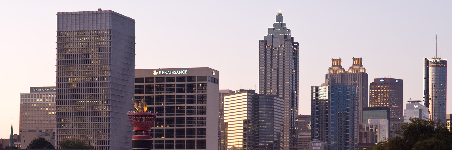 Atlanta Skyline of Downtown as the sunsets. Image provided by Georgia Tech.
