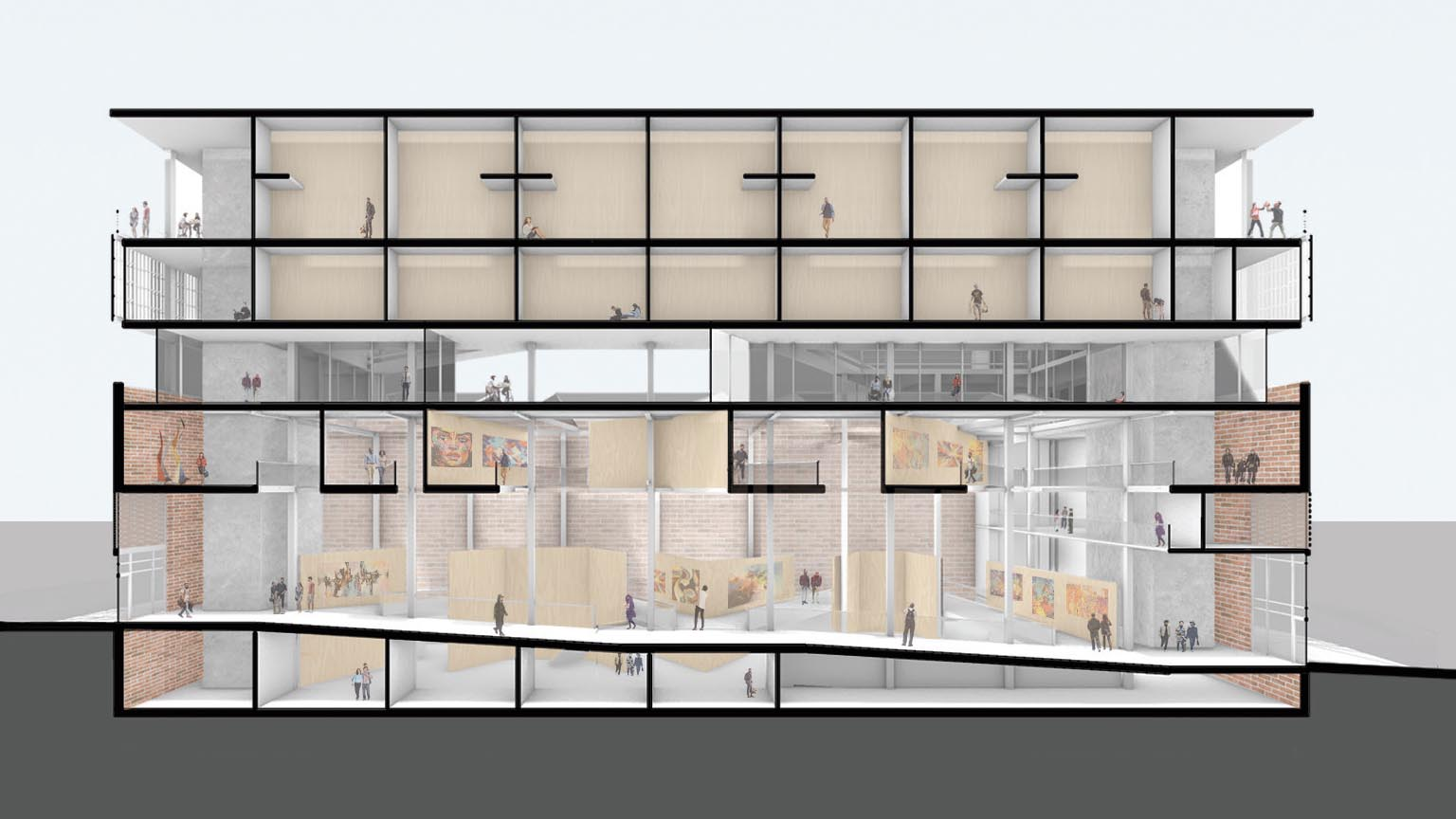 Section perspective showing how floor cuts work to form the gallery walkways and how those are always visually connected to the ground and basement floors. It also highlights the co-working floor, which has an inset glass façade that allows the co-living floors to conceptually float above the existing brick building.