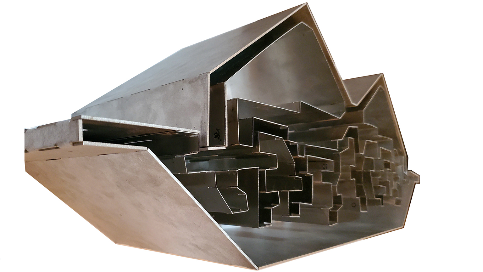Metal model of a section of a building by Barrett Blaker from the Spring 2020 Core II Studio