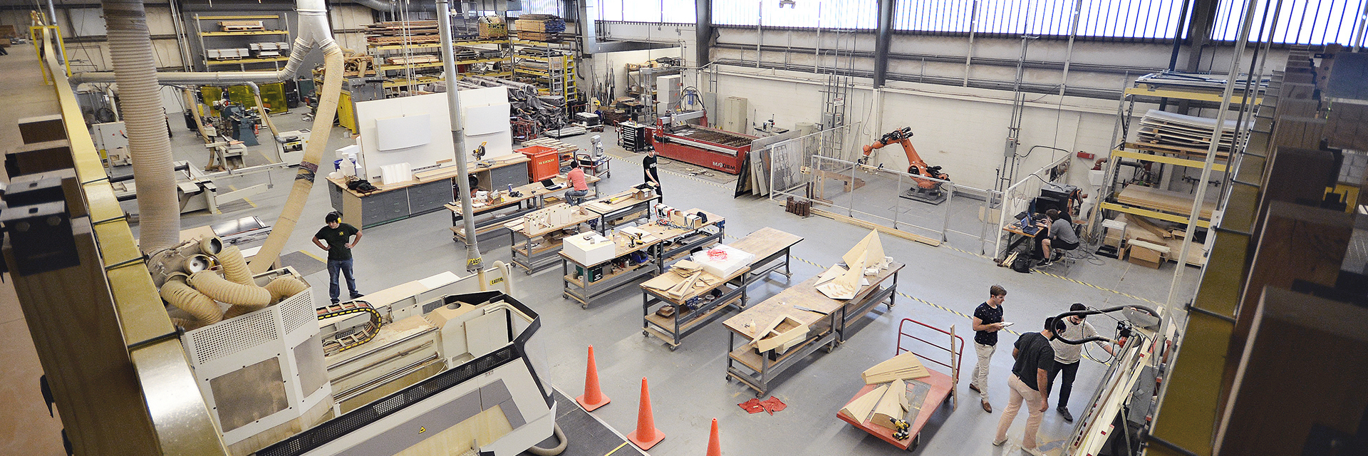 Overhead image of the main floor of the Digital Fabrication Lab