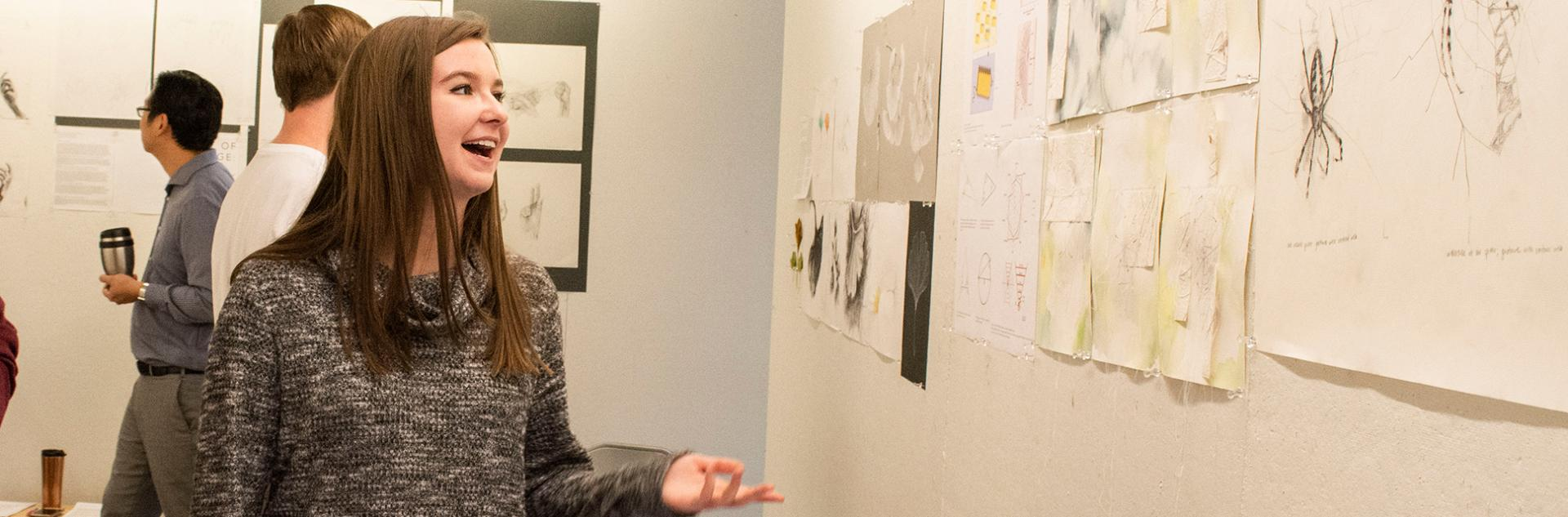 Student presents project from Drawing on Nature elective course