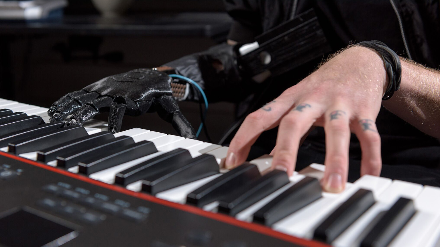 The skywalker hand, a prosthetic hand designed to help amputees play music, plays the piano.The skywalker hand, a prosthetic hand designed to help amputees play music, plays the piano.