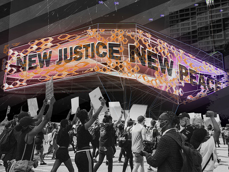 Rendering by Will Reynolds featuring a group of protesters under a sign that reads New Justice New Peace