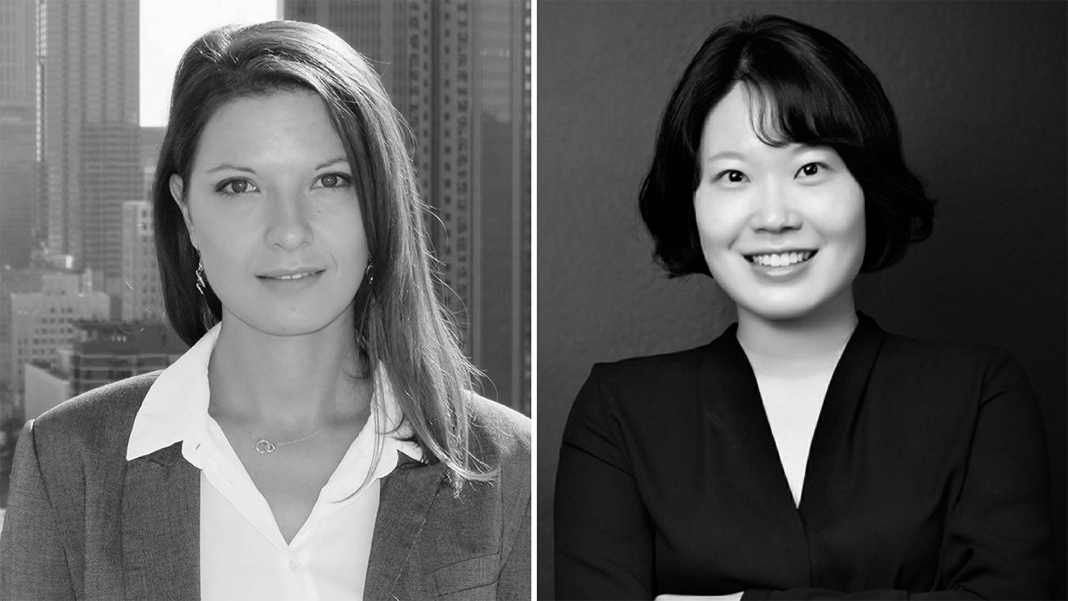 Zorana Matić-Isautier and Lisa Lim's headshots side by side in black and white