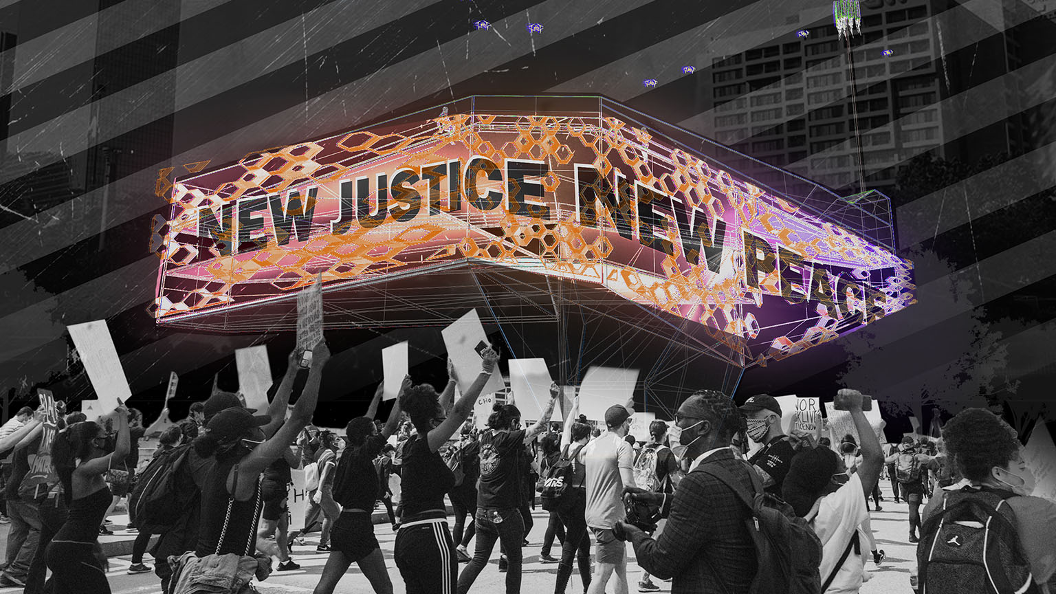 "Protesting Crowd with ""New Justice New Peace displayed overhead. Center for Autonomous Witness rendering by Will Reynolds."