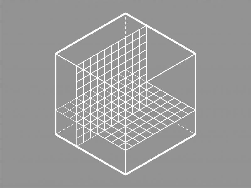 A greyscale icon of a cube with an interior graph to measure the space.