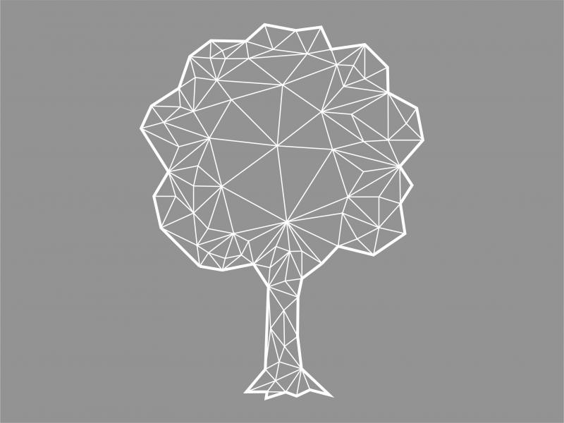 A greyscale diagram of a tree.