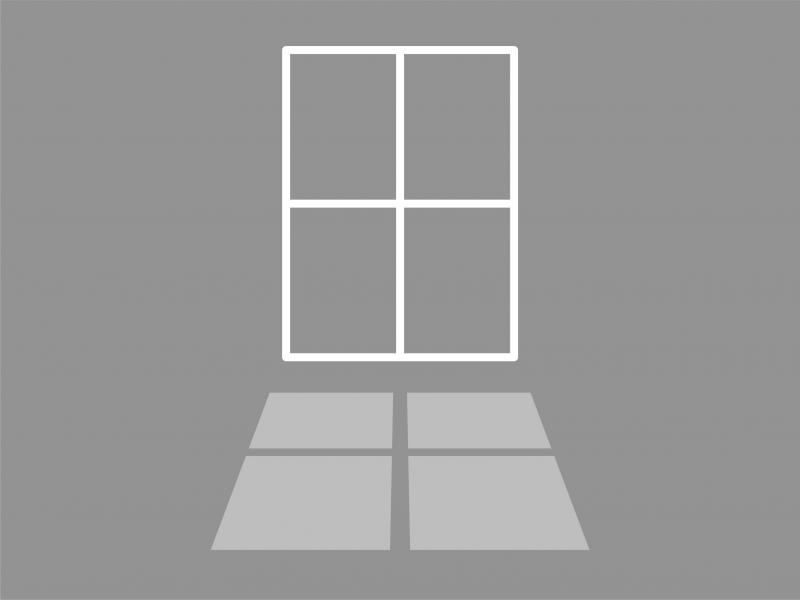 A greyscale icon of a window and a shadow cast from the window.