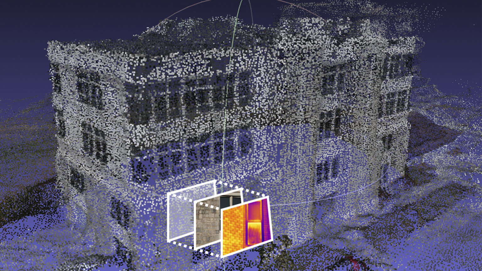 The 3D cloud point was reconstructed with its local coordinate system by using photogrammetry techniques to process UAV-images captured in a spiral flight path. The location (3D coordinates in the local coordinate system) of the RGB and IR images for close-range façade inspection were identified by the proposed image matching and transformation algorithms.