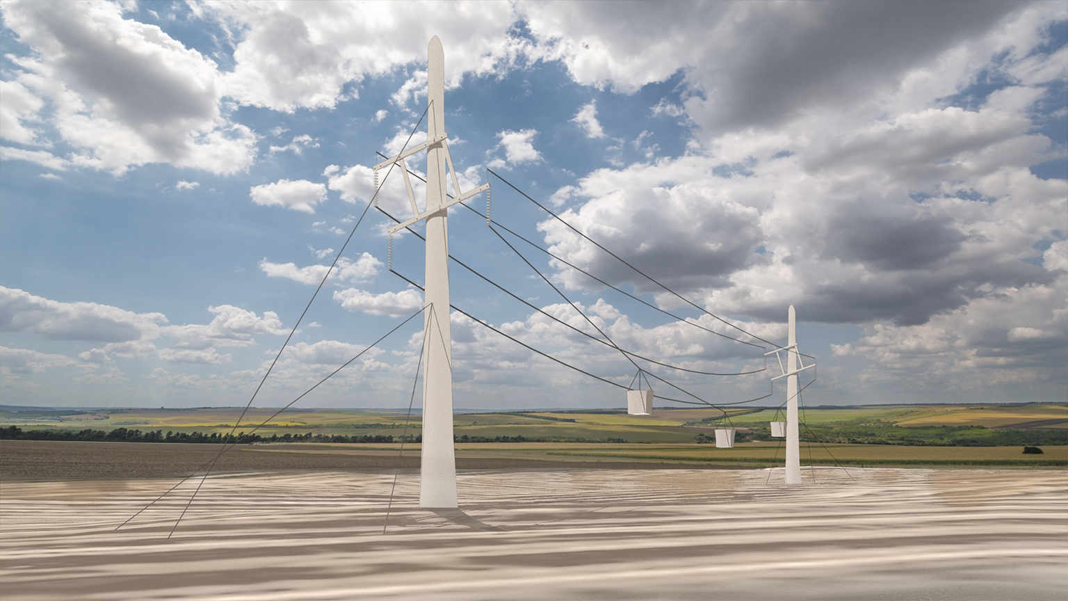 Rendering of repurposed wind blades used to aid in irrigation in a field.