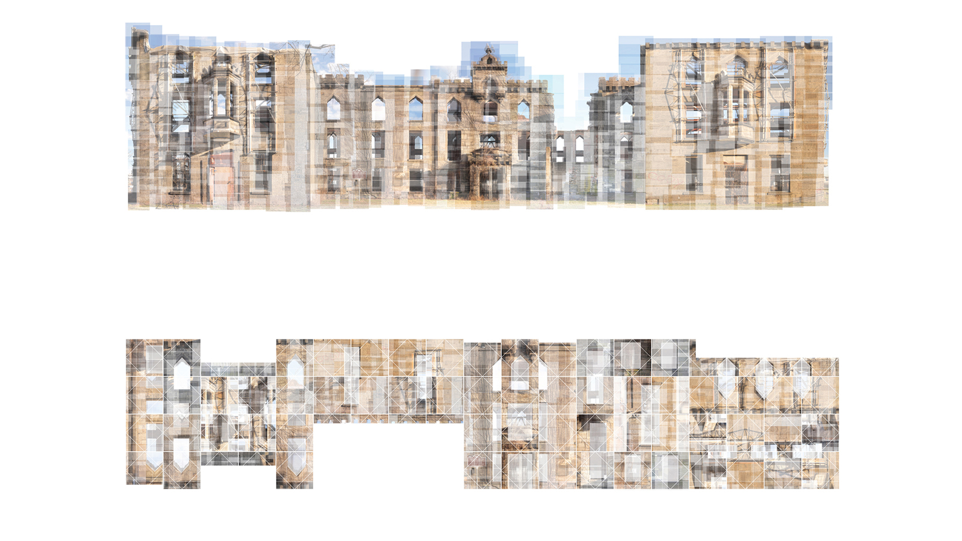 Two photo-collaged facades of Renwick Ruin