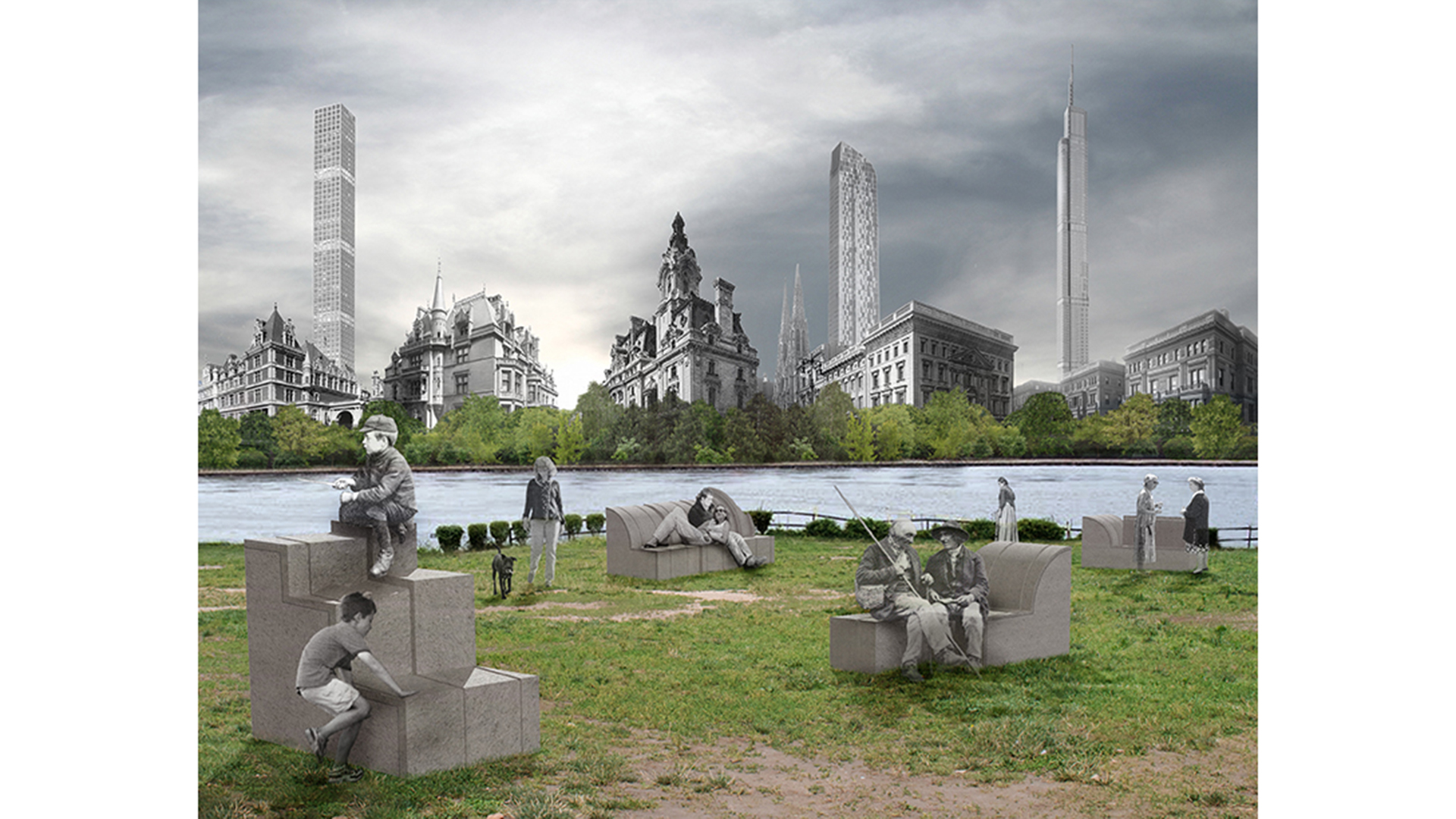 Photo collage of people in park against imagined New York skyline