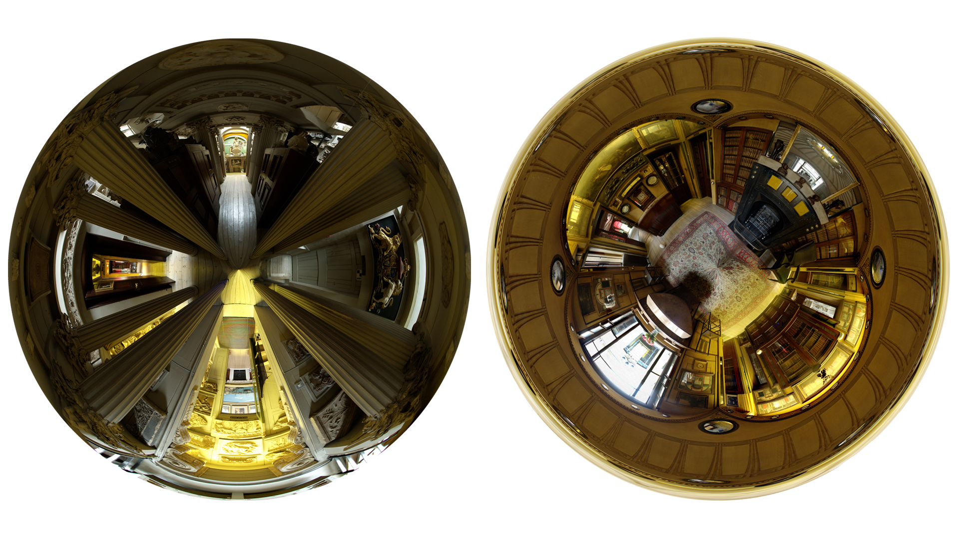 Stereographic projections of the Museum and Breakfast Room of Sir John Soane's Museum, London through a fisheye lens