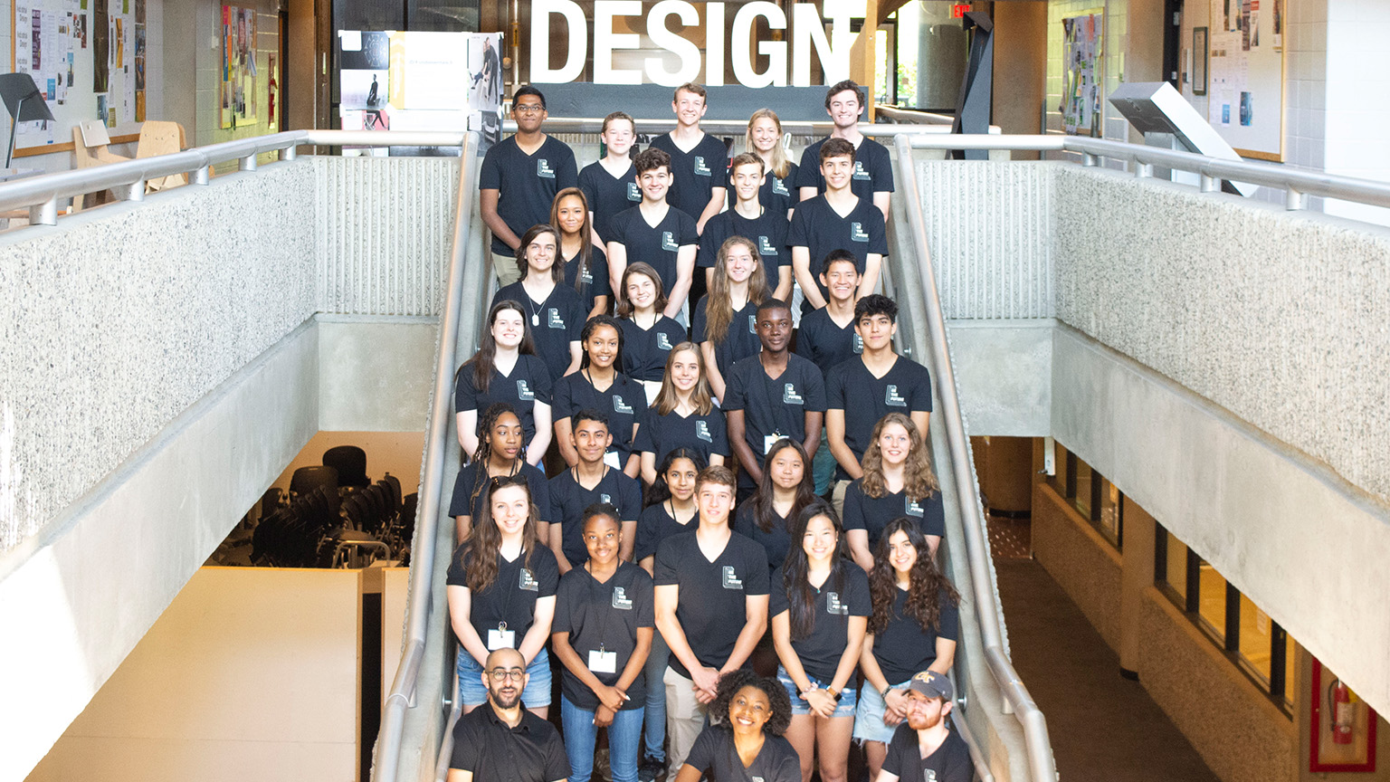 Pre-College Architecture Program group photo on the stairs in Architecture West
